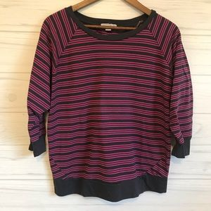 Cotton On Pink & Grey Striped Sweatshirt. Large.